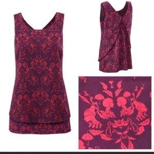CAbi Cameo Blouse -Purple & pink baroque pattern.